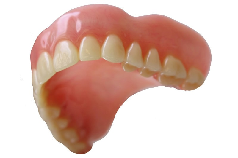 Zoomed in photo of a denture